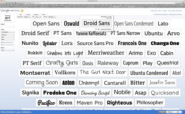 구글 웹 폰트는 현재 모두 617가지의 글꼴 모둠을 지원한다.